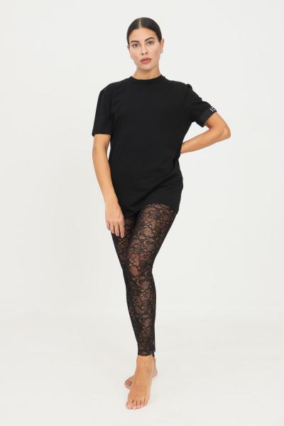 DSQUARED2 Leggings donna nero in pizzo con icona dsquared2  Leggings | D8LM03650010