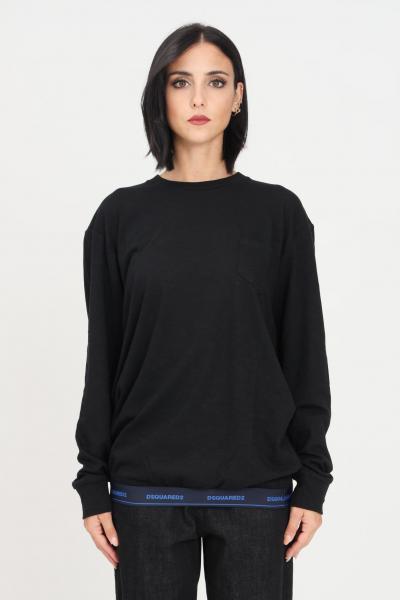 Maglioncino unisex nero con taschino frontale e banda elastica logata sul fondo  T-shirt | D9M173800001