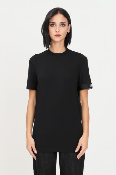 DSQUARED2 T-shirt unisex nero dsqaured2 a manica corta con banda elastica icon sulla manica  T-shirt | D9M3S3590001