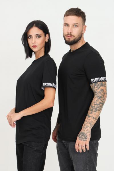 DSQUARED2 T-shirt unisex nero dsquared2 a manica corta con bande elastiche alle maniche  T-shirt | D9M3U3620001