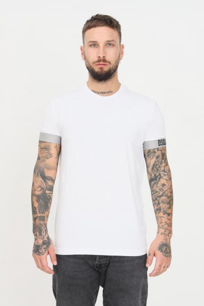 DSQUARED2 T-shirt unisex bianco dsquared2 a manica corta con bande elastiche alle maniche  T-shirt | D9M3U3620100