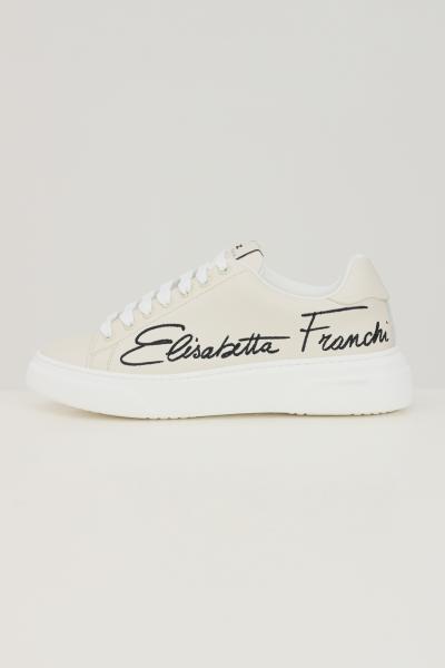 Sneakers donna avorio con logo laterale ricamato  Sneakers | SA31H16E2360