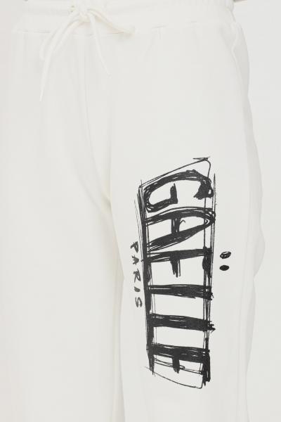 GAELLE Pantaloni donna bianco gaelle modello casual con maxi logo a contrasto  Pantaloni   GBD10137BIANCO