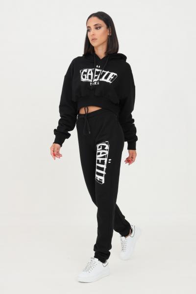 GAELLE Pantaloni donna nero gaelle modello casual con maxi logo a contrasto  Pantaloni   GBD10137NERO