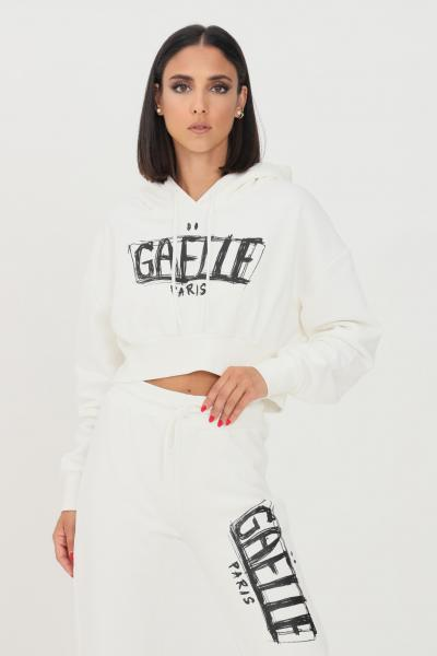 GAELLE Felpa donna bianco gaelle con cappuccio e stampa logo frontale  Felpe   GBD10143BIANCO