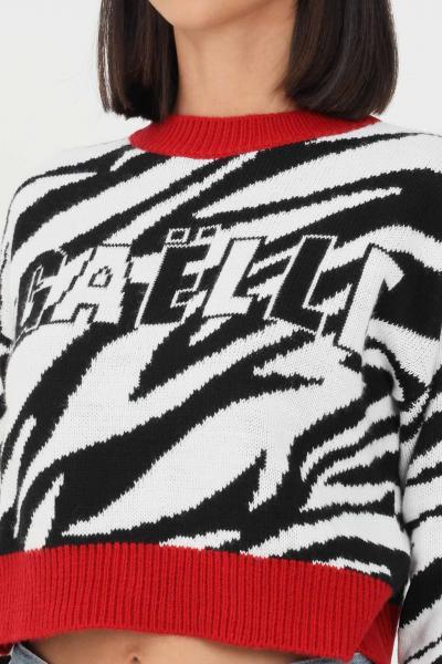 GAELLE Magioncino donna zebrato gaelle paris con orli a contrasto  T-shirt   GBD10274ZEBRATOBIANCO