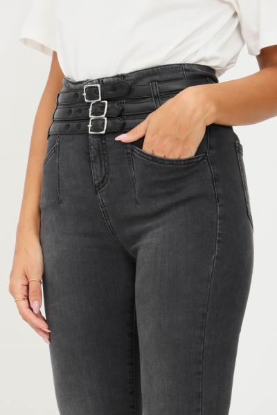 GAELLE Jeans da donna nero gaelle con fibbie regolabili in ecopelle  Jeans | GBD10430NERO