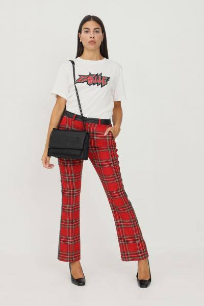 GAELLE Pantaloni donna rosso gaelle con stampa quadri e applicazione mini borchie  Pantaloni   GBD9811ROSSO