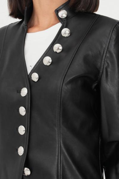GAELLE Giacca in pelle da donna nero gaelle con bottoni silver  Giubbotti   GBD9893NERO