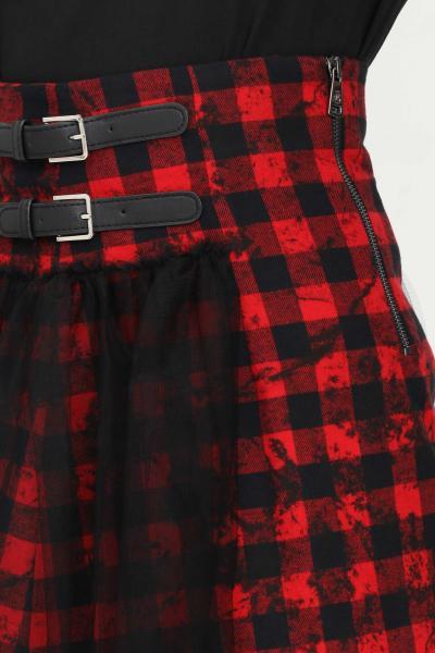 GAELLE Gonna donna nero rosso gaelle corta con stampa quadri  Gonne   GBD9933NERO/ROSSO
