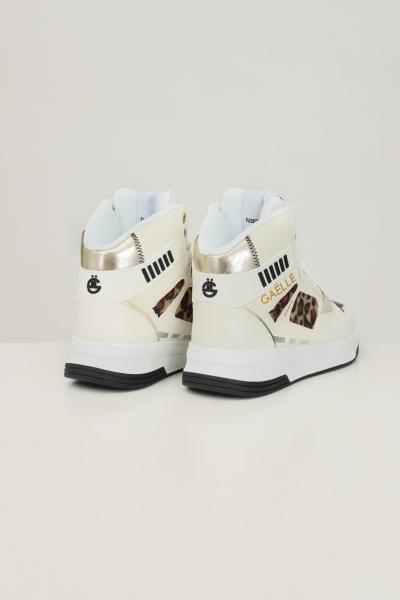 GAELLE Sneakers donna bianco gaelle con inserti camoscio maculato  Sneakers | GBDC2379NATURALE