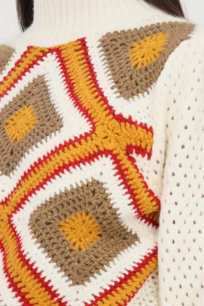 GLAMOROUS Maglione donna panna glamorous a collo alto con trama geometrica sul davanti  T-shirt   AN3995CREAMMULTIKNIT