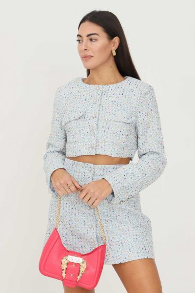 GLAMOROUS Giacca da donna a fantasia azzurro glamorous con taschini sul davanti  Giacche   AN4032BLUEMULTITWEED