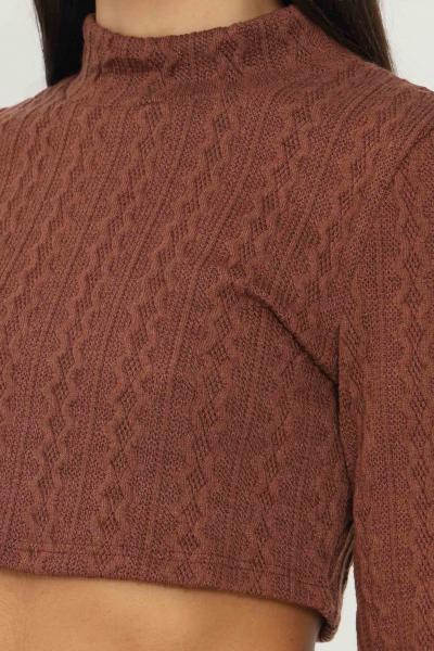 GLAMOROUS Maglioncino donna marrone glamorous taglio corto  T-shirt   AN4037BROWN