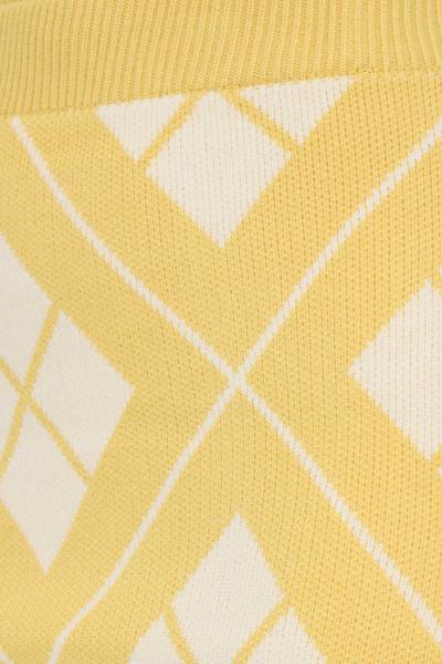 GLAMOROUS Gonna giallo glamorous corta con trama rombi a contrasto  Gonne   CK6203YELLOWCREAM