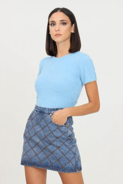 GLAMOROUS Maglioncino donna azzurro glamorous modello girocollo a manica corta  T-shirt | TM0219AZUREBLUE