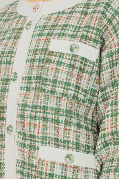 GLAMOROUS Cardigan donna a fantasia verde glamorous con tasche frontali  Cardigan   TM0405GREENTWEEDWHITE
