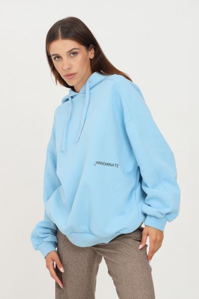 HINNOMINATE Felpa donna azzurro hinnominate con cappuccio e logo a contrasto  Felpe | HNWSFC06CIELO