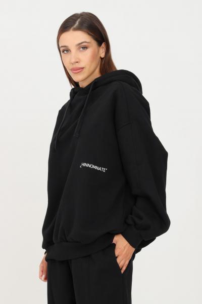 HINNOMINATE Felpa donna nero hinnominate con cappuccio e logo a contrasto  Felpe | HNWSFC06NERO