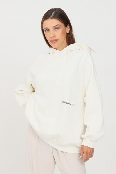 HINNOMINATE Felpa donna bianco hinnominate con cappuccio e logo a contrasto  Felpe | HNWSFC06OFFWHITE