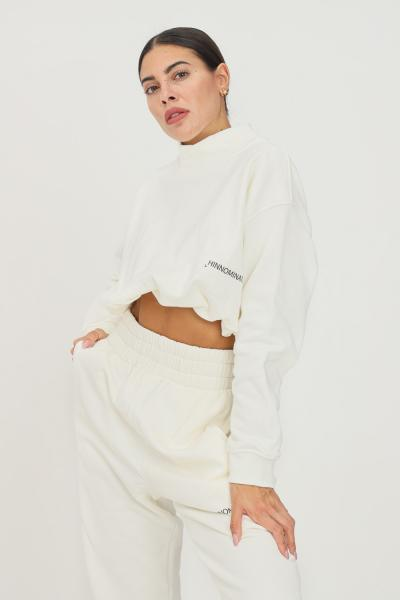 HINNOMINATE Felpa donna bianco hinnominate girocollo con elastico sul fondo  Felpe | HNWSFCO28OFFWHITE