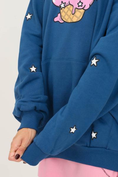 IRENE IS GOOD Felpa donna blu irene is good con cappuccio e stampa frontale  Felpe | 21FW-IGHO016BLUE