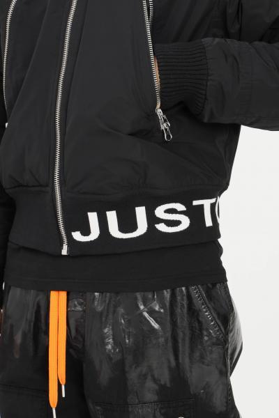 JUST CAVALLI Giubbotto uomo nero just cavalli con banda elastica logo a contrasto  Giubbotti | S03AM0364961