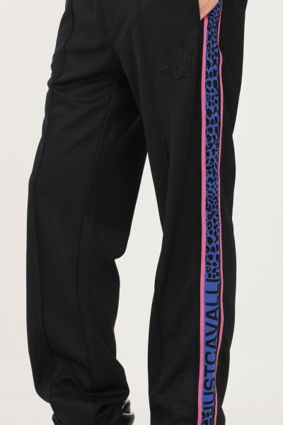 JUST CAVALLI Pantaloni uomo nero just cavalli modello casual con bande laterali logate  Pantaloni | S03KA0260900