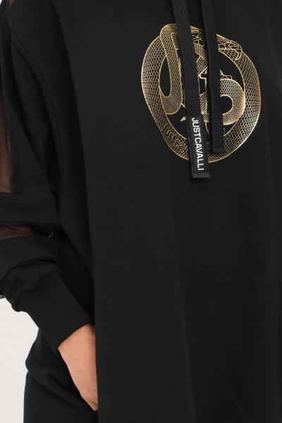 JUST CAVALLI Abito donna nero just cavalli taglio corto con cappuccio  Abiti | S04GU0124900