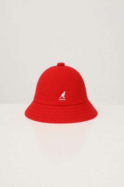 KANGOL Bucket unisex rosso kangol in tinta unita con ricamo logo a contrasto  Cappelli | K3451RD608