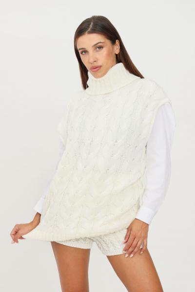 KONTATTO Gilet in maglia donna latte kontatto taglio lungo  Gilet | 3M8377LATTE