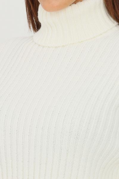 KONTATTO Maglioncino donna latte kontatto a collo alto a costine  T-shirt | 3M8387LATTE