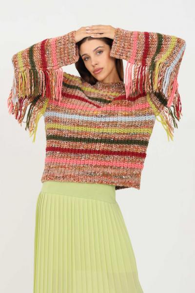 KONTATTO Maglioncino donna multicolor kontatto a girocollo con frange  T-shirt | 3M8392CUOIO