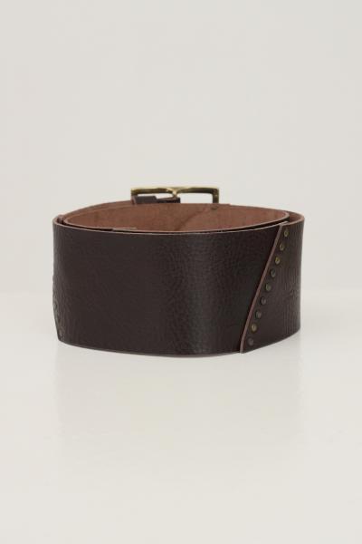 KONTATTO Cintura donna marrone kontatto con maxi fibbia oro antico  Cinture | NB703MORO