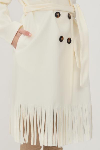 KONTATTO Cappotto donna panna kontatto con frange sul fondo  Cappotti | TT232APANNA