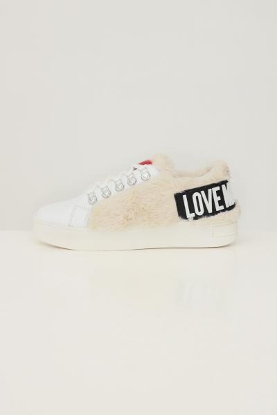 LOVE MOSCHINO Sneakers donna bianco love moschino con applicazione pelliccetta  Sneakers | JA15583G0D-IAM10A