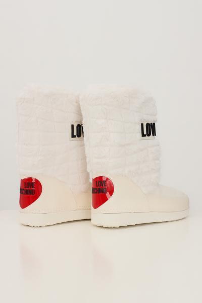 LOVE MOSCHINO Stivali da neve donna bianco love moschino con dettagli in pelliccia e logo in gomma  Stivali | JA24232G0D-ISN11A