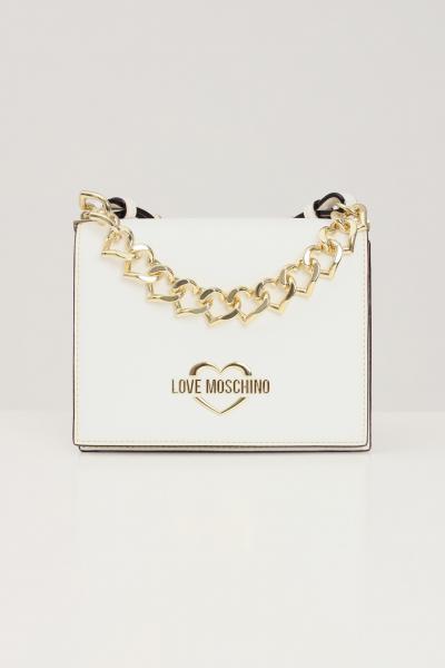 LOVE MOSCHINO Borsa donna panna love moschino con tracolla e applicazione catena oro cuori  Borse | JC4196PP1D-LK0100