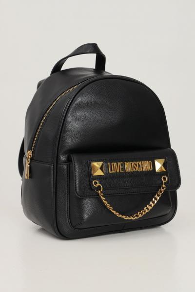 LOVE MOSCHINO Zaino donna nero love moschino con applicazione logo e catena sulla tasca frontale  Zaini | JC4244PP0D-KC0000