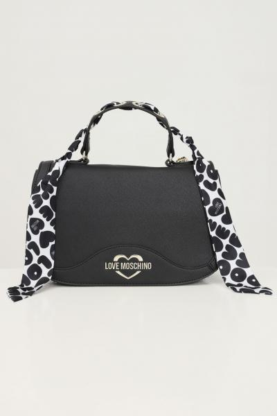 LOVE MOSCHINO Borsa donna nero love moschino con tracolla e foulard  Borse | JC4248PP0D-KD0000