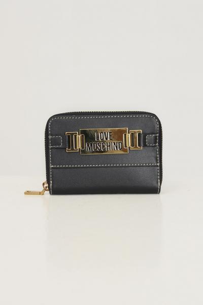 LOVE MOSCHINO Portafogli donna nero love moschino con applicazione logo in metallo oro  Portafogli | JC5609PP0D-KB0000