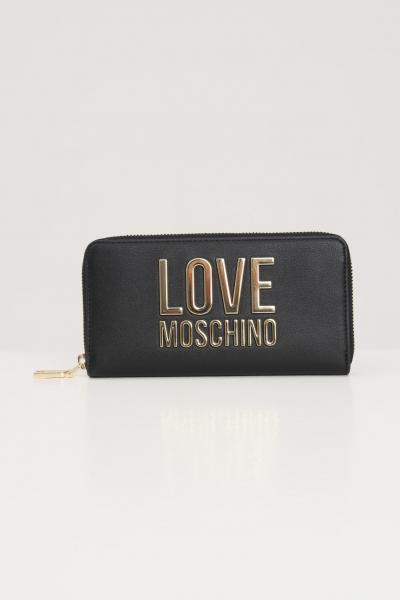 LOVE MOSCHINO Portafogli donna nero love moschino con logo oro in rilievo  Portafogli | JC5611PP1D-LJ000A