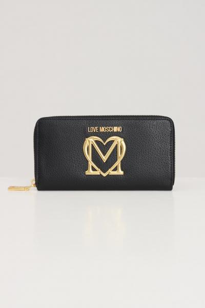 LOVE MOSCHINO Portafogli donna nero love moschino con logo oro chiusura con zip  Portafogli | JC5647PP1D-LL0000