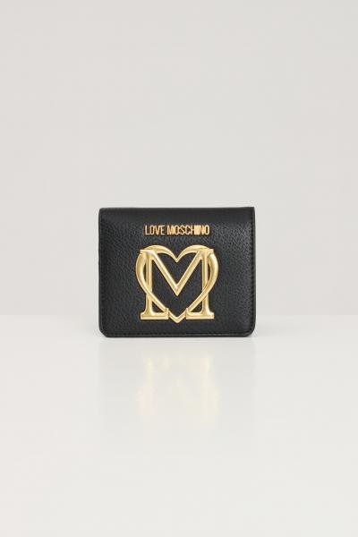 LOVE MOSCHINO Portafogli donna nero love moschino con logo frontale in rilievo  Portafogli | JC5648PP1D-LL0000