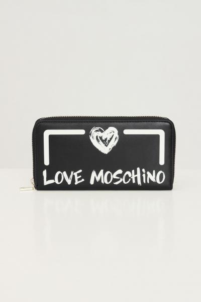 LOVE MOSCHINO Portafogli donna nero love moschino con logo a contrasto  Portafogli | JC5665PP0D-KE100A