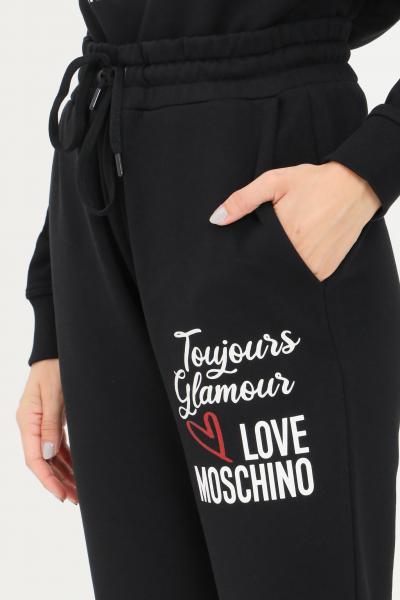 Pantaloni felpa donna di colore nero con elastico in vita  Pantaloni | W155603M4055C74