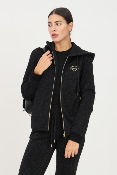 LOVE MOSCHINO Felpa donna nero love moschino con zip e glitter allover  Felpe | W339504M4308C74