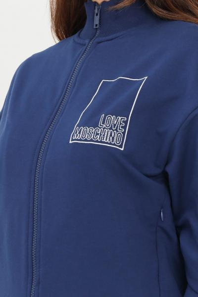 Felpa donna di colore blue con zip  Felpe | W341201E2269Y58