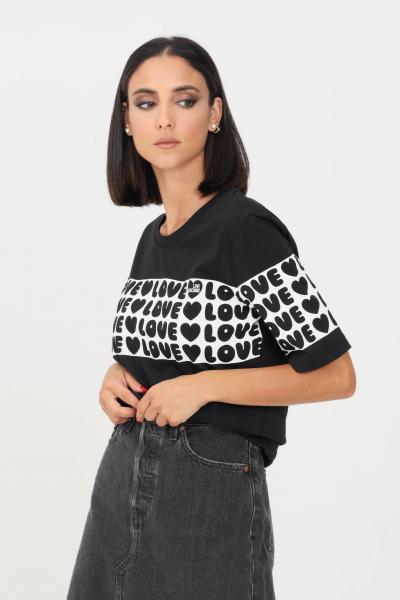 LOVE MOSCHINO T-shirt donna nero love moschino con banda logata  T-shirt | W4F153CM3876C74