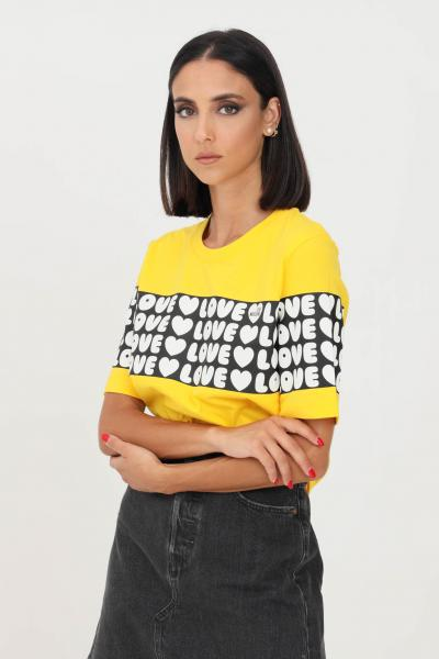 LOVE MOSCHINO T-shirt donna giallo love moschino con banda logata  T-shirt | W4F153CM3876I60